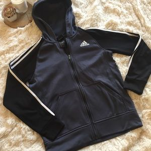 Adidas gray and black track jacket zip up
